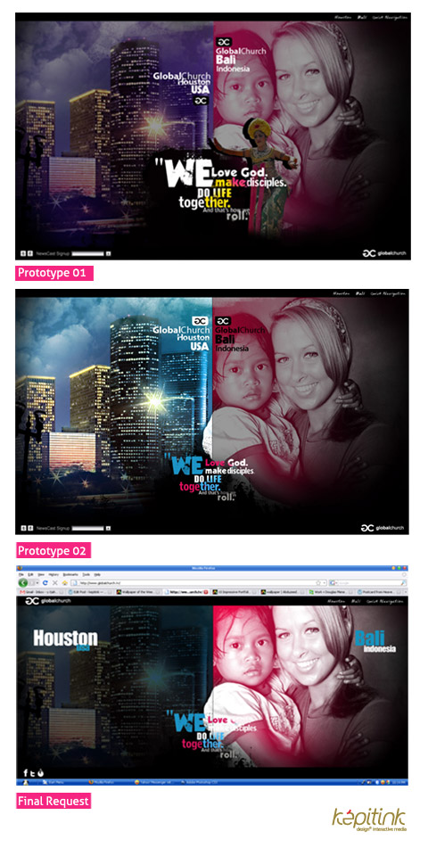 A landing page design for www.globalchurch.tv